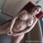 TS BABYDOLL STROKES HER BIG COCK