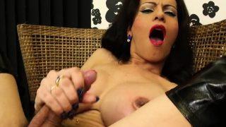 Slutty tranny masturbates her large ramrod and taut fuckhole