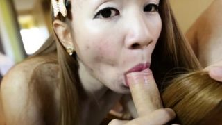 Captivating eastern tranny Yuri cums from lever licking