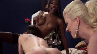 Black shemale fucks guy in threesome