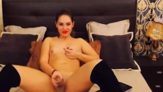 So Pretty And Sexy Shemale Jerking On Cam