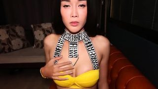 Big tits Asian ladyboy blowjob and anal cock riding